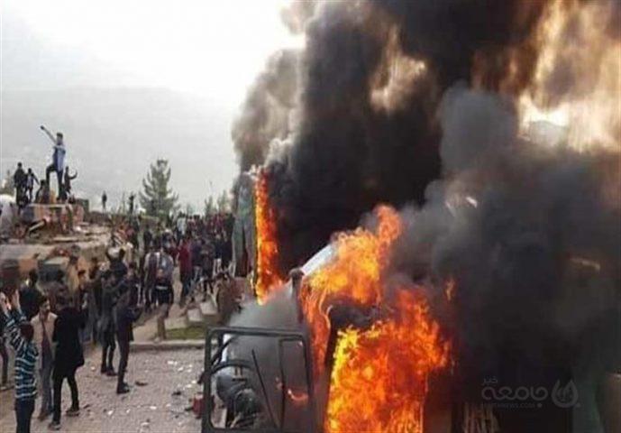 معترضان مقر نیروهای ترکیه در شمال عراق را آتش زدند