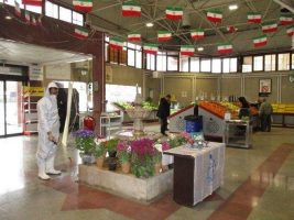 پیشگیری از کرونا| ضدعفونی با تجهیزات ویژه در میادین میوه و تره بار تهران
